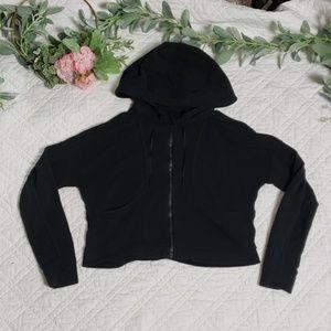 Lululemon Womens Black Crop Top Hoodie Zip Size 6
